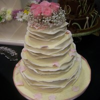 Chocolate Wrap  Cake dummy decorated for a bridal show. I was disappointed in how the pic turned out....the roses weren't nearly as pink as they seem...