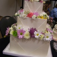Envelope   Cake Dummy decorated for a bridal show.Panels made of white chocolate.
