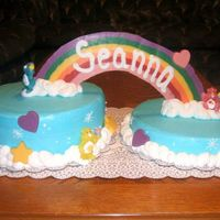 Carebear Cake   When looking through my yearbooks, a friend asked me if I could make this cake for her daughters 1st bday, but, didn't want fondant.