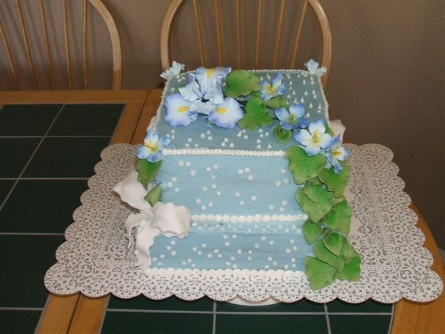 Square Blue Wedding Cake