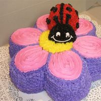 Flower And Lady Bug Red Velvet Flower with custard filling. Lady Bug is white cake with chocolate cupcake for the head.