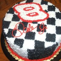 Dale Earnhardt  2 layer chocolate cake with chocolate mint chip mousse, was for a cancer charity auction, cake went for $46, I was very happy with the cake...