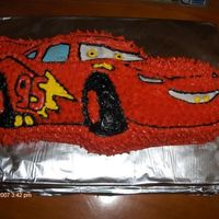 My 5Th Character Cake/lightening Mcqueen Just a boxed cake mix, store bought icing, nothing fancy!