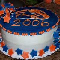 "Boise State Broncos Graduation Cake My Mom and I collaborated on this cake, I making the ""beads"" and stars out of fondant, and brushing the stars with edible glitter..."
