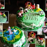 Farm / Barnyard Cake For 1St Birthday Celebration Fondant animals, rice krispy treat barn, and the rest is buttercream. Made a small cake for Jack to get messy with, and made sure to keep...