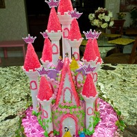 Disney Princess Castle Birthday Cake Used the Wilton kit for the turrets. Princesses are figurines.