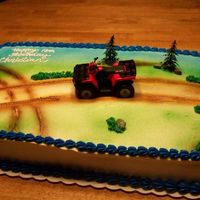 Atv 4 Wheeler Cake This is a full sheet cake half banana cream and the other half marble (Iknow what a combination).