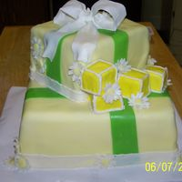 "Baby Shower Cake 10"" and 6"" square.. MMF covered MMF bow. I am NOT a professional by any means, but the girl loved it. I also wrote Baby on the..."