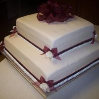 Ivory & Burgandy Wedding Cake
