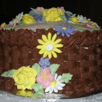 Final Cake This was the final cake I made for my Wilton II class. It is a chocolate cake with chocolate butter cream frosting and Royal icing flowers...