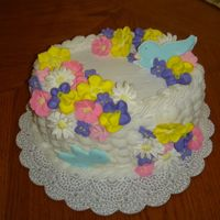 Floral Basket Cake Royal Icing flowers, with butter cream basket weave.