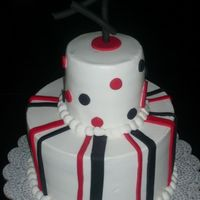 "Red And Black This is my first stacked cake in about a year. It is a 8"" and a 4"". I will never make another 4"" again"