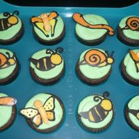 Bug Cuppies I made royal icing transfers first, and over half of them broke. So, I made chocolate transfers at the last minute.