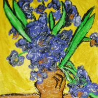 Van Gogh Iris Painting I needed a buttercream cake fast so just copied this painting by Van Gogh on my wall.