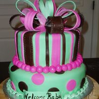 Pink Brown And Green Baby shower cake in corors of the nursery