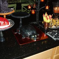 Rat This is the red velvet bleeding rat cake from our Halloween Party.