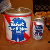 Pabst Blue Ribbon Can Fondant covered replica of a Pabst Blue Ribbon Can