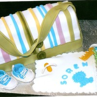 "Diaper Bag Cake was a 9"" X 13"" pan, cut in 3 and layered. All decorations are fondant except for the shoes, soother and keys. Shoe pattern..."