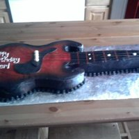 Guitar   cake covered in bc with mmf trim pieces