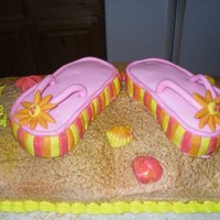 Flip Flops At The Beach flip flops are covered in mmf. sand is buttercream sprayed for texture then airbrushed for color.