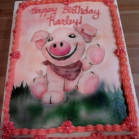 Cute Pig Just a simple cake covered in buttercream with the artwork airbrushed on. I used a stencil i made just for this cake.