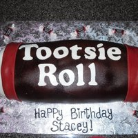 Tootsie Roll  cake was very thin then covered in buttercream and rolled to get shape. Next covered in mmf. some of the colors are in the fondant some...