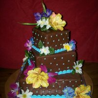 Chocolate Wedding   covered in choco-pan. flowers are silk