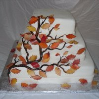 Autumn Wedding Cake   covered in mmf. vines are hand painted mmf. leaves are airbrushed mmf