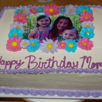 Mom's Birthday Cake Snow White Flowers, Whipped Cream Icing, Strawberry Cheesecake filling