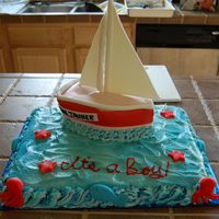 Sail Boat Baby Shower I did this cake for a friends Baby shower. The theme was sail boats.