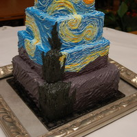 Starry Night Wedding Cake  Cake for wedding using Van Gogh's Starry Night as a theme. Vanilla confetti cake (blue, forest green, yellow sprinkles). Almond...