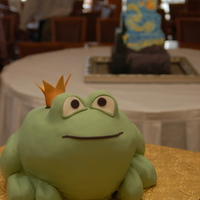 Frog Prince Grooms Cake  Frog-Prince groom's cake so bride could get a picture kissing it. Red Velvet Cake! Almond Buttercream. Satinice white fondant tinted...