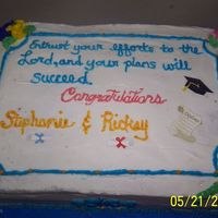 Graduation Cake Cake for the two graduates at our church. The diploma's and cap are just puffy stickers. I filled a half sheet pan half full with...
