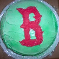 Father's Day Red Sox Cake  I made this today for dh for Father's Day. I wish I had made the B smaller so I could have actually written Happy Father's Day on...