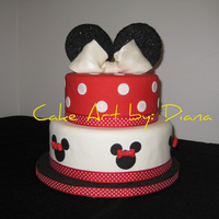 Minnie Mouse Cake Gumpaste ears and bows. I added black sugar to the ears. Fabric ribbon, TFL!!