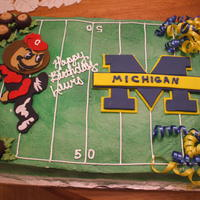 Ohio State Vs. Michigan This cake was done for a guy whose birthday happened to fall on the Ohio State vs. Michigan. The figures were done by layering fondant. I...