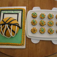 Basket Ball Tournament Cute cake made for a kid's basketball team. I cheated and just covered 1/2 a styrofoam layer with fondant and put it on top of the...