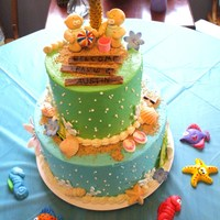 Beach Themed Twin Baby Shower This was for a baby shower for a first time mom with twins. Their wedding cake was beach themed and they wanted their baby shower cake to...