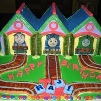 Thomas And Friends Made this for a birthday boy who loved thomas. The train shed is the only cake but everything else on the board is edible. After the candle...