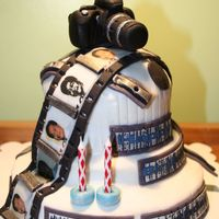 Camera Cake made for a die-hard photography fan. Crusting BC and Fondant with edible images.