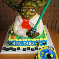 Yoda Made this cake for a 1 year old birthday with a star wars theme. My first sculpted cake. I think it turned out pretty well. Hand-sculpted...