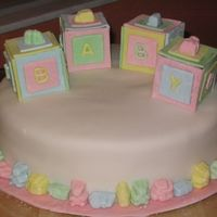Baby Block Shower Cake