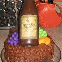 Wine Bottle & Basket Cake Everything is edible except the personalized label. Made it for a wino's 40th b-day, he loved it!!!