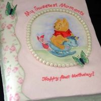 Pooh Book  Iced in buttercream with a fondant book back. The fondant was stenciled using petal dusts. The Pooh picture was traced onto a frosting...