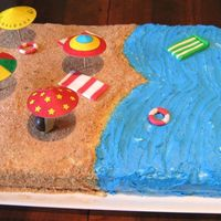 "Let's Go To Beach! This is the cake made for day care party of my 3 years old son.It's made of yellow sponge cake (Italian ""Pan di spagna"")..."