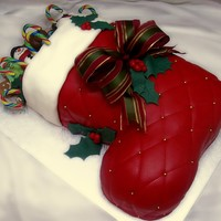 Christmas Stocking My first christmas cake :) I am very happy with the result, they wanted a wow effect for children and for grownups. Vanilla cake and...
