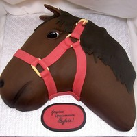 Horse Cake Chocolate cake with creamy coffee buttercream, covered with chocolate fondant.