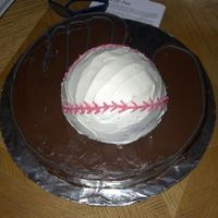 Baseball Glove And Ball Cake I made this for my sons 7th birthday. I used a 10x2 round pan and cut it to look like a baseball glove. I used the ball pan and put one...