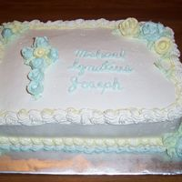 Micheal's Christening This was a gluten free cake with iced in pastry pride.