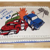 Demolition Derby Cake Well I don't think the women was happy with this one. She asked for a demolition derby cake, gave specific colors and numbers, I...